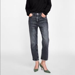 Zara Gray Straight Jeans — Cigarette High Rise